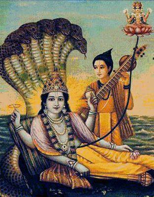 Narada, Vishnu und Brahma